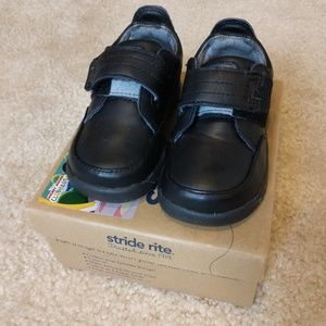 Boys Stride Rite NMS Danny H&L Black Lea shoes